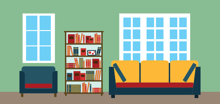 Artwork of a living room with windows, a yellow-orange couch, a blue chair, and a bookshelf.